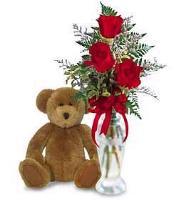 3 Roses and Teddy Bear
