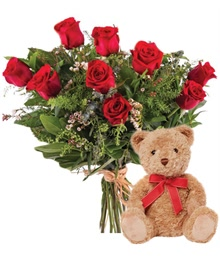 9 Red Roses and Small Teddy Bear