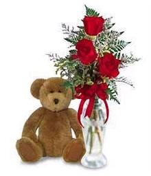 3 Roses and Teddy Bear