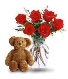 6 Red Roses and Small Teddy Bear